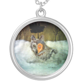 Brave Wolf Round Pendant Necklace