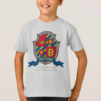 Brayden boys B name & meaning knights shield T-Shirt