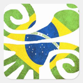 BRAZIL, LOVE, PEACE, LUCK, WWW.DRCHOS.COM,CURIOS, SQUARE STICKER