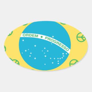 brazil peace oval sticker