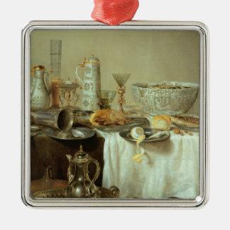 Breakfast Still Life, 1638 Silver-Colored Square Decoration