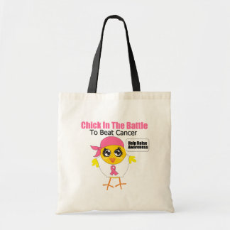 Breast Cancer Chick In the Battle to Beat Cancer Budget Tote Bag