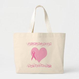 breast cancer design jumbo tote bag