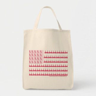 Breast Cancer Flag Tshirt Final Grocery Tote Bag
