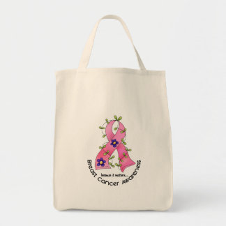 BREAST CANCER Flower Ribbon 1 Grocery Tote Bag