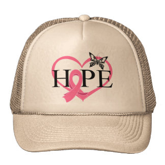 Breast Cancer Hope Butterfly Heart Décor Mesh Hats