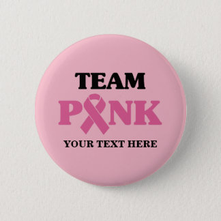 Breast Cancer Pink Ribbon Team 6 Cm Round Badge
