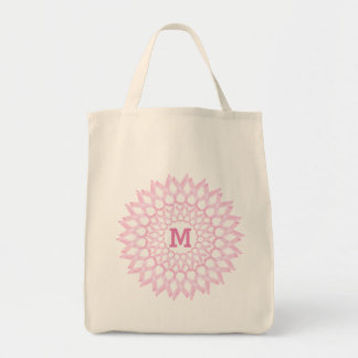 Breast Cancer Ribbon Monogram Grocery Tote Bag