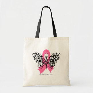 Breast Cancer Tribal Butterfly Ribbon Bag