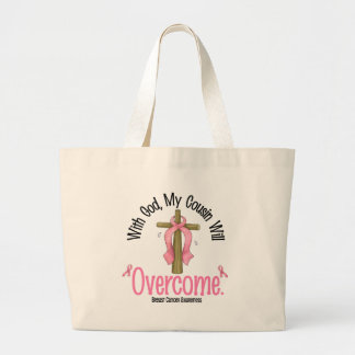Breast Cancer With God My Cousin Will Overcome Canvas Bag