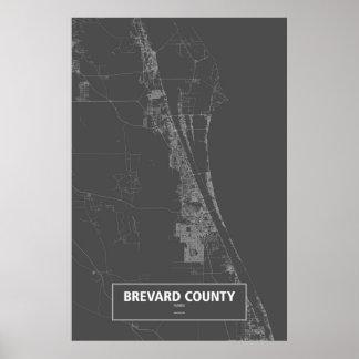 Brevard County, Florida (white on black) Poster