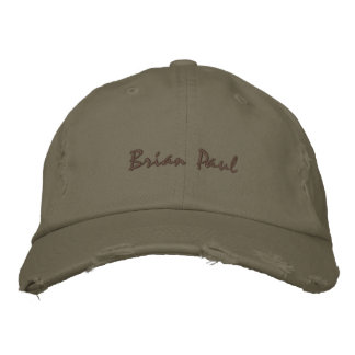 Brian Paul Destroyed Vintage Hate Army Green Embroidered Baseball Caps