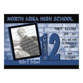 Brick 2012 Graffiti / Blue 14 Cm X 19 Cm Invitation Card