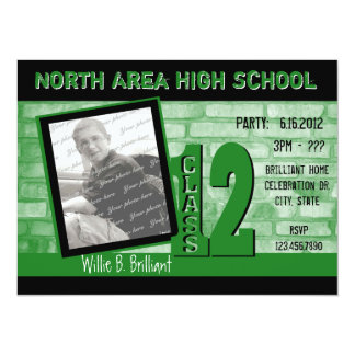 Brick 2012 Graffiti / Green 5.5x7.5 Paper Invitation Card