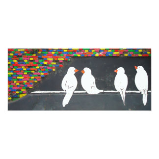 brick bird wall : graffiti wall 4x9.25 paper invitation card