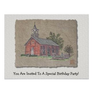 Brick Country Church Custom Invitation