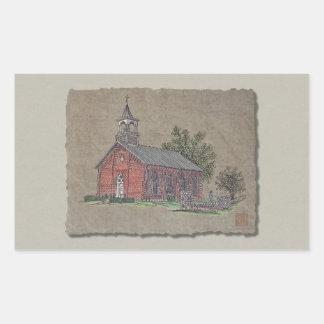 Brick Country Church Rectangular Sticker