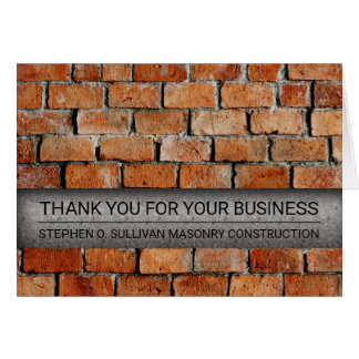 Brick Masonry Construction Business Thank You Card