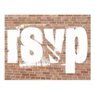 Brick Wall Graffiti RSVP Postcard