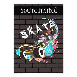 Brick Wall Skate Graffiti Logo With Board 13 Cm X 18 Cm Invitation Card
