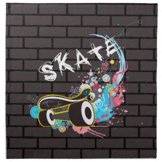 Brick Wall Skate Graffiti Logo With Board Napkin