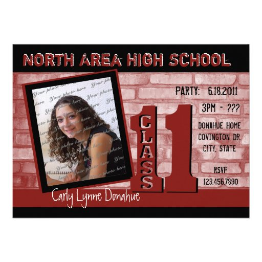 Brickwork Graffiti / Red Personalized Invite