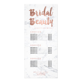 Bridal beauty gold typography marble price list rack cards