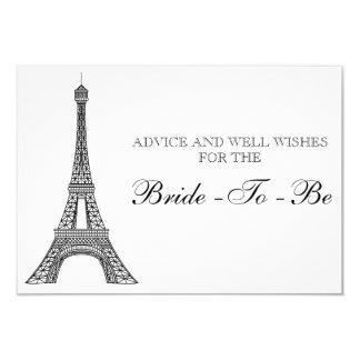 Bridal Shower Advice Card Eiffel Tower Paris 9 Cm X 13 Cm Invitation Card
