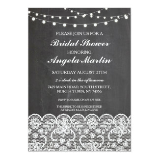 Bridal Shower Bachelorette Party Chalk Lace Invite
