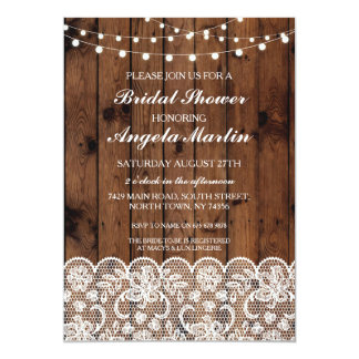Bridal Shower Bachelorette Party Wood Lace Invite