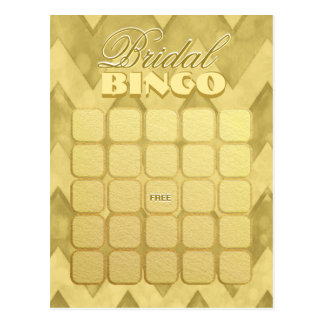 Bridal Shower Bingo | Gold Chevron Postcard