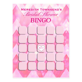 Bridal Shower Bingo | Pink Chevron Postcard