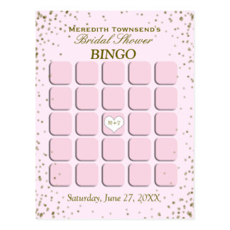 Bridal Shower Bingo | Pink Confetti Postcard