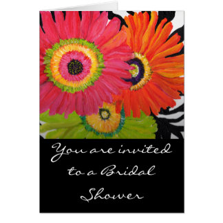 Bridal Shower Card with 3 Bright Gerbera Daisies