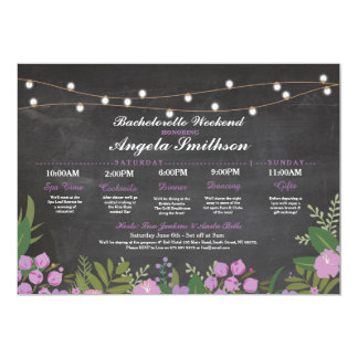 Bridal Shower Chalk Purple Itinerary Bachelorette Card