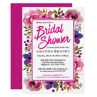 Bridal Shower Floral Modern Wedding Watercolor Card