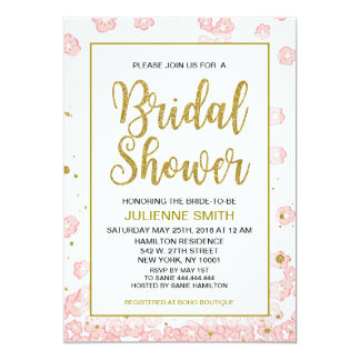 Bridal Shower Floral | Pink and Gold Glitter Card