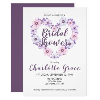 Bridal Shower Flower Heart Purple White Card