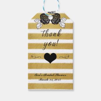 Bridal Shower Gift Tag-Gold Stripes