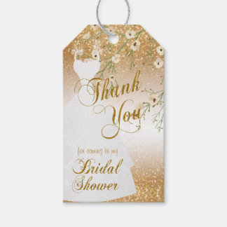 Bridal Shower in Gold Glitter | Thank You Gift Tags