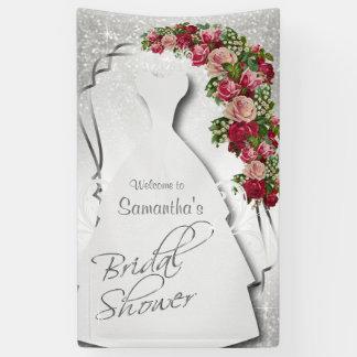 Bridal Shower in White Glitter Banner