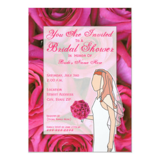 Bridal Shower Invitation - Roses - Red Hair