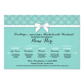Bridal Shower Itinerary Teal Bachelorette Invite