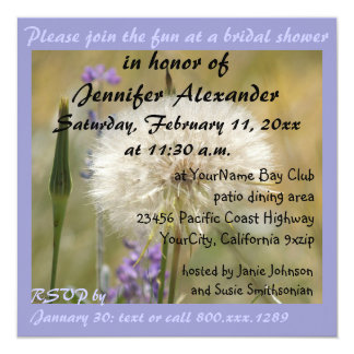 Bridal Shower Lavender Dandelion Card