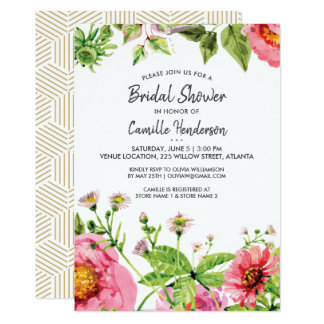 Bridal Shower Pink Blush Watercolor Peony Flowers Card
