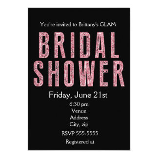 Bridal Shower pink glitter black glam invitation