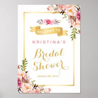 Bridal Shower Sign Elegant Chic Floral Gold Frame Poster