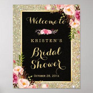 Bridal Shower Sign Gold Glitter Sparkles Floral Poster