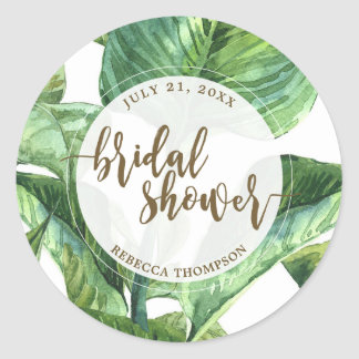 bridal shower sticker palm leaves tropical