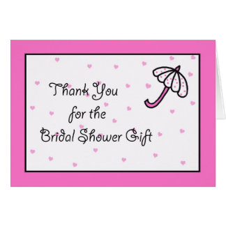 Bridal Shower Thank You Card -- Bridal Umbrella